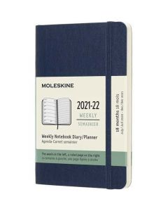 Pocket 18-Month Soft Cover Sapphire Blue 2021-2022 Weekly Planner