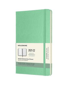 This is the A5 18-Month Hard Cover Ice Green 2021-2022 Weekly Planner designed by Moleskine.
