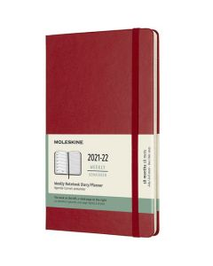 This is the Moleskine A5 18-Month Hard Cover Scarlet Red 2021-2022 Weekly Planner.