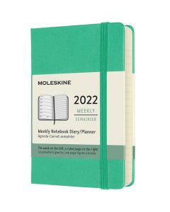 This is the Moleskine Pocket 12-Month Hard Cover Ice Green 2022 Weekly Planner.