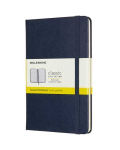 This is the Moleskine Medium Hard Cover Navy Classic Squared Notebook.