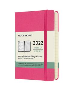 This is the Moleskine Pocket 12-Month Hard Cover Pink 2022 Weekly Planner.