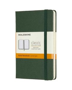 Pocket Hard Cover Green Classic Lined Notebook