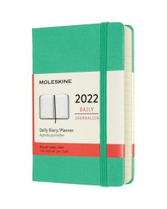 This is the Moleskine Pocket 12-Month Hard Cover Ice Green 2022 Daily Planner.