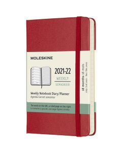 Pocket 18-Month Hard Cover Scarlet Red 2021-2022 Weekly Planner