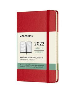 This is the Moleskine Pocket 12-Month Hard Cover Scarlet Red 2022 Weekly Planner.
