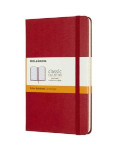Medium Hard Cover Red Classic Lined Notebook