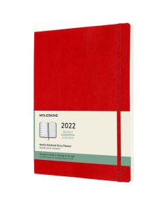 A4 12-Month Soft Cover Scarlet Red 2022 Weekly Planner
