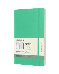 This is the Moleskine A5 18-Month Soft Cover Ice Green 2021-2022 Weekly Planner.