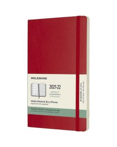 This is the Moleskine A5 18-Month Soft Cover Scarlet Red 2021-2022 Weekly Planner.