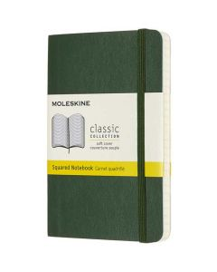 Pocket Soft Cover Green Squared Notebook