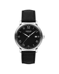 The Montblanc tradition black dial and black alligator-skin strap watch.