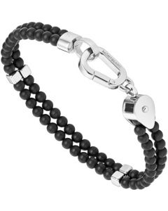 This is the Montblanc Black Onyx & Stainless Steel Wrap Me Bracelet.