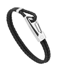 This is the Montblanc Black Woven Leather Bracelet with Black Lacquered Detailing.
