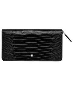 The Montblanc black lizard print leather 8CC travel wallet in the Meisterstück collection.