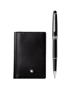 The Montblanc Meisterstück black card holder and rollerball pen set.