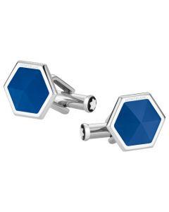 The Montblanc hexagonal blue agate cufflinks.