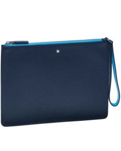 This is the Montblanc Meisterstück My Office Grey and Blue Medium Pouch.