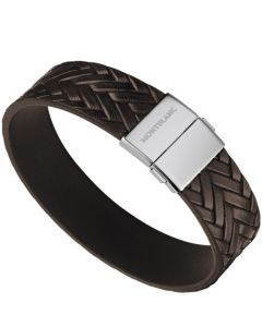 This Montblanc bracelet is made from a brown printed leather material.