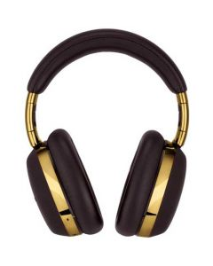 These Montblanc Brown Over-Ear MB 01 Smart Travel Headphones feature a smooth leather finish.