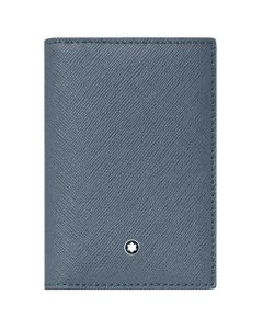 This Montblanc business card holder is made from a denim blue leather material.