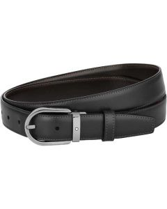 This is the Montblanc Business Line Horseshoe Ruthenium Pin Buckle Reversible Belt.