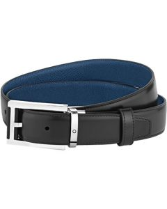 This is the Montblanc Business Line Rectangular Stainless Steel & Black/Blue Leather Pin Buckle Belt.