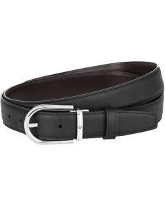 This is the Montblanc Business Line Horseshoe Polished Palladium Pin Buckle Reversible Black/Brown Belt.