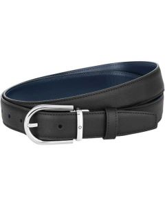 This is the Montblanc Business Line Horseshoe Polished Palladium Pin Buckle Reversible Belt.