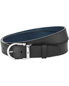 This is the Montblanc Casual Line Horseshoe Stainless Steel Pin Buckle Reversible Black/Blue Belt.