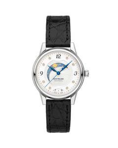 This Montblanc watch features a black alligator-skin strap.