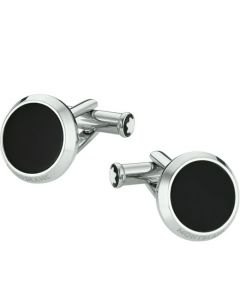 Stainless steel and black onyx cufflinks by Montblanc.