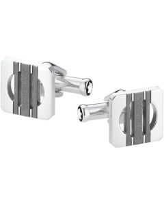 Montblanc Stainless Steel 3 Rings Motif Square Cufflinks.