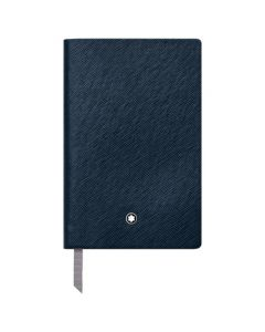 The Montblanc indigo leather A7 lined notebook.
