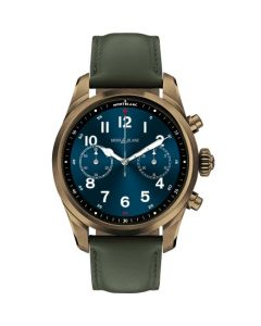 This is the Montblanc Summit 2+ Khaki Leather & Bronze Steel Smartwatch.