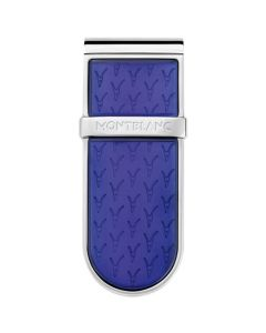 The Montblanc Le Petit Prince round stainless steel and blue money clip.