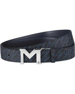 This is the Montblanc Casual Line M Shaped Palladium-Coated M Gram Reversible Belt.