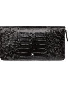 Montblanc mocha purse with a textured leather outside.