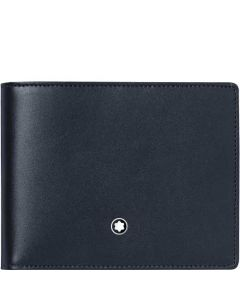 This Montblanc wallet is made from a smooth navy leather material.