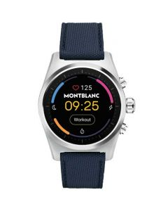 This is the Montblanc Summit Lite Grey Aluminium & Navy Fabric Smartwatch.