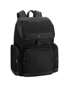 The Montblanc black nylon backpack with flap in the NightFlight collection.