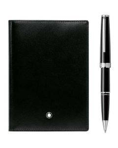 This is the Montblanc PIX Black Rollerball and Black Meisterstück Passport Holder Pen Set.