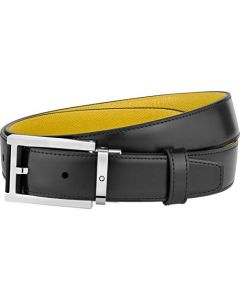 This is the Montblanc Business Line Rectangular Shiny Stainless Steel Pin Buckle Black/Yellow Belt.