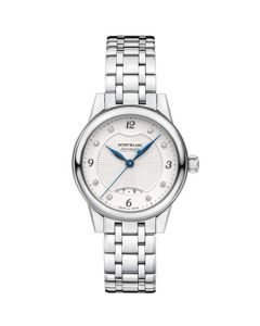This silver stainless steel watch has been created by Montblanc.