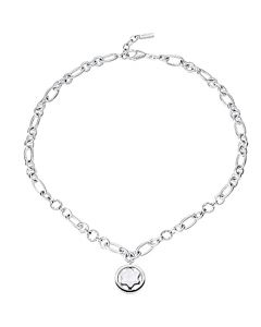 Montblanc 925 sterling silver necklace with mother of pearl emblem pendant.