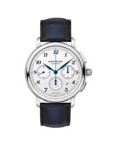 This blue watch has been designed by Montblanc.