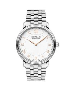 This is the Montblanc Tradition Silver Steel Manual Winding Watch.