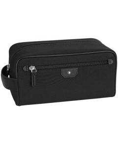 Montblanc Sartorial black nylon and leather wash bag.