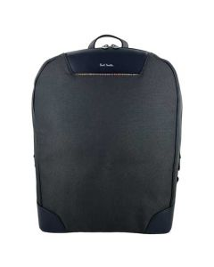 This Paul Smith men's backpack is made from grey canvas and blue leather material.