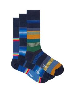 These are the Paul Smith 3-Pack of Men's Mixed Navy Stripe Socks.